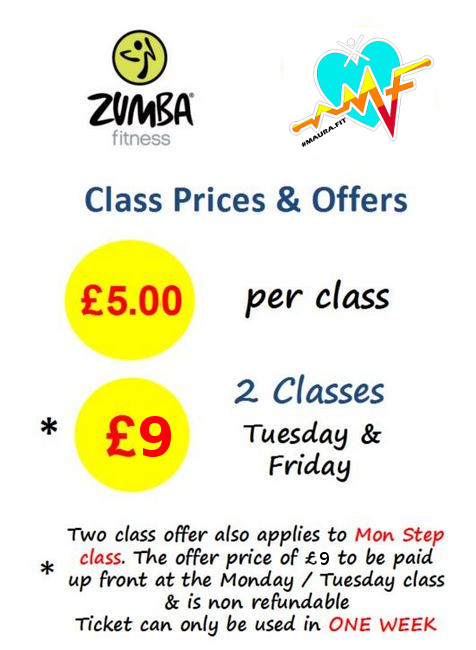 Zumba Class Price Offers with Maura at the Guild Hall - price: £4.50 per class or only £8 for 2 classes Tuesday & Friday